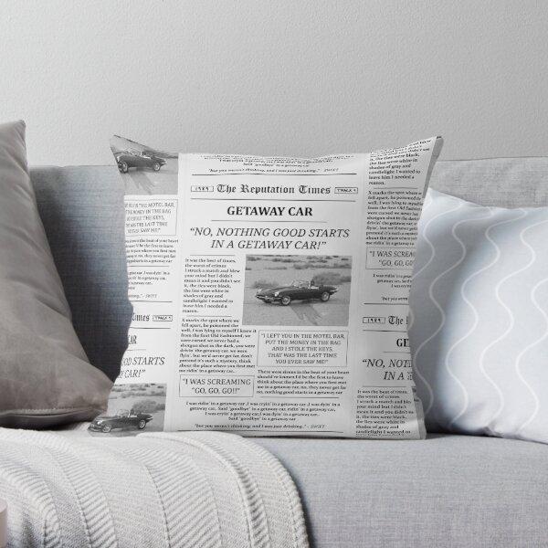 Getaway Car Newspaper Throw Pillow
