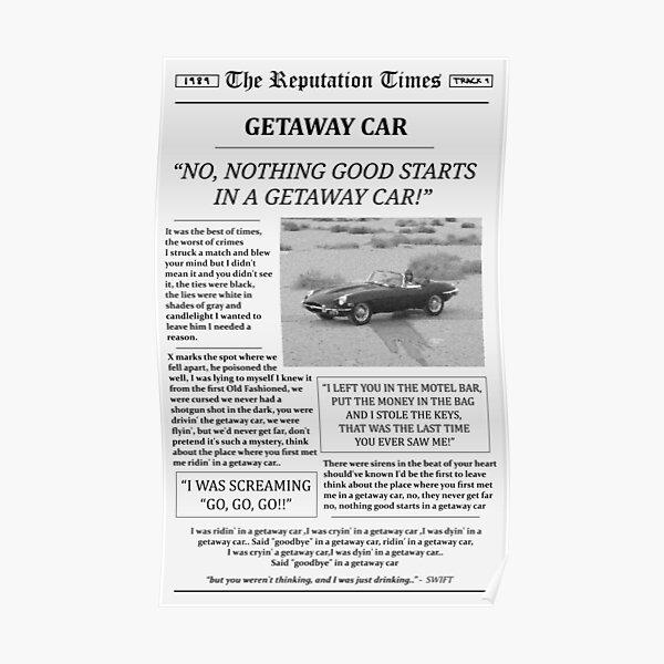 Getaway Car Newspaper Poster