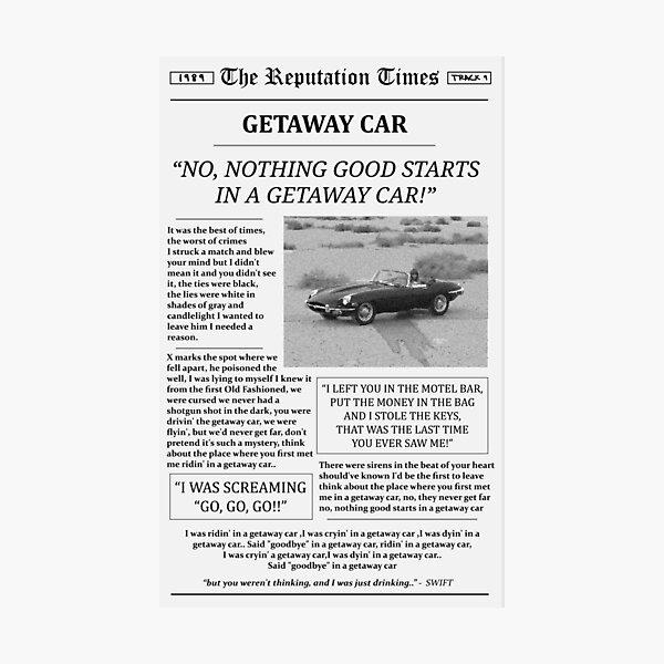 Getaway Car Newspaper Photographic Print