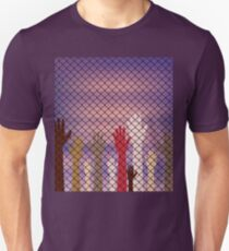 Hands Behind a Wire Fence Unisex T-Shirt
