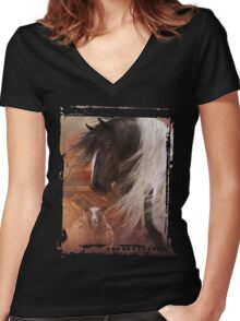 Gypsy on the Farm Women's Fitted V-Neck T-Shirt
