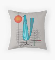 Mid-Century Bird Throw Pillow