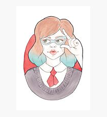 Nerdy, Blue-Haired Minerva in Vintage Glasses Photographic Print