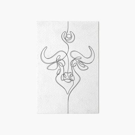 Minimalistic Continuous Line Bull Portrait (black line on white background) Art Board Print