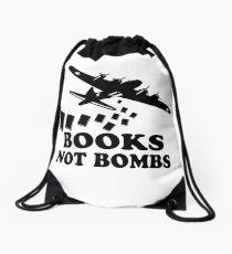 Funny Books Not Bombs Drawstring Bag