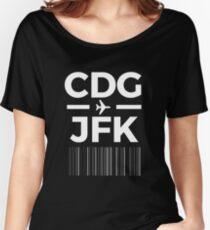Paris New York Charles de gaulle to JFK New York Airport Code Design Women's Relaxed Fit T-Shirt