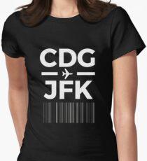 Paris New York Charles de gaulle to JFK New York Airport Code Design Women's Fitted T-Shirt