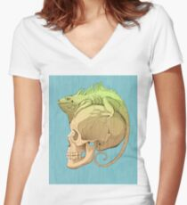 colorful illustration with iguana and skull Women's Fitted V-Neck T-Shirt