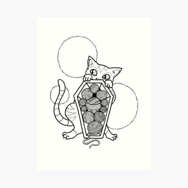 Kitty's Yarn Stash: Memento Mori Art Print