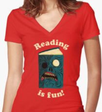 Reading is Fun Women's Fitted V-Neck T-Shirt
