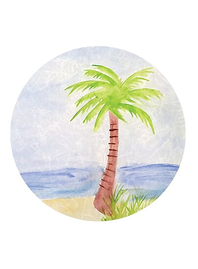 Palm Tree Watercolor by kfeydesign