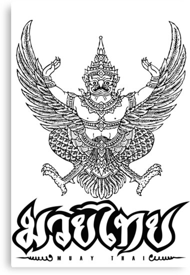 "muay thai coloring pages | ""Garuda Muay thai traditional thailand martial art"" Canvas ..."