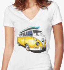 VW Bus Sunshiney day Women's Fitted V-Neck T-Shirt