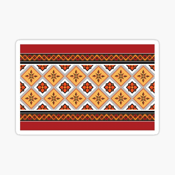 Geometric ethnic pattern traditional Design for background,carpet,wallpaper,clothing,wrapping,Batik,fabric,sarong,Vector illustration embroidery style. Sticker