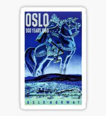 Oslo Norway Vintage Travel Poster Restored Sticker
