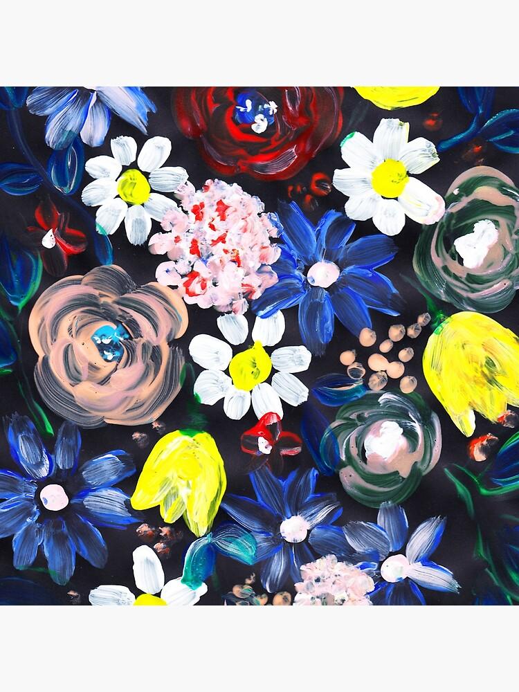 Florales design in Acryl mit schwarzen hintergrund von RanitasArt