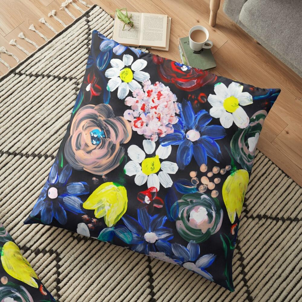 Florales design in Acryl mit schwarzen hintergrund Bodenkissen