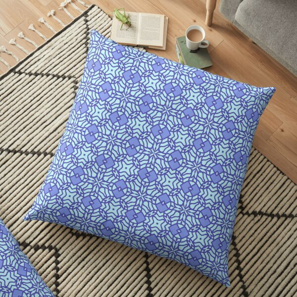 Modern Geometric Blue Lilac Pattern Design 1990 Floor Pillow