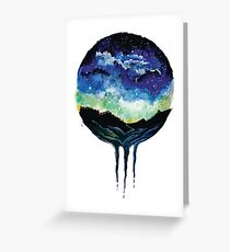 Watercolour Galaxy Sunset Greeting Card