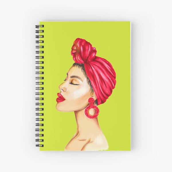 Mode portrait d'une dame aux lèvres rouges Cahier à spirale