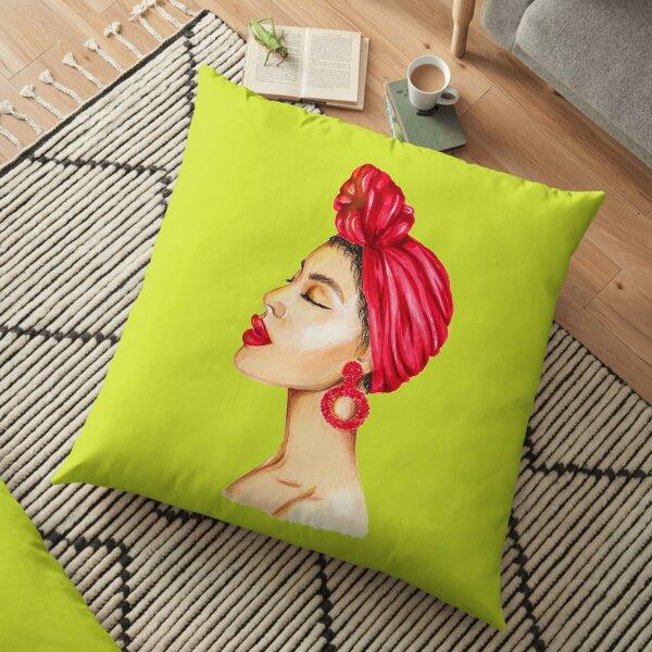 Mode portrait d'une dame aux lèvres rouges Coussin de sol