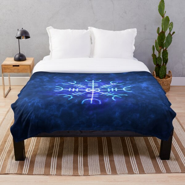 Helm of Awe Sigil, Icelandic Magical Stave Wrought in Ice Fire Throw Blanket