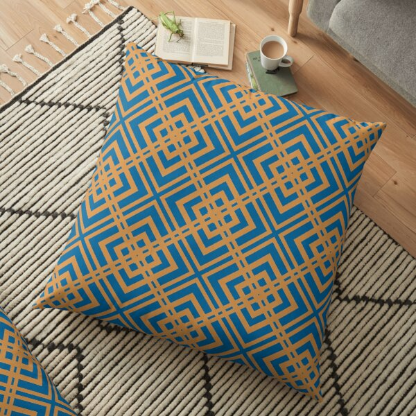 Modern Geometric Blue Orange Pattern Design 1997 Floor Pillow
