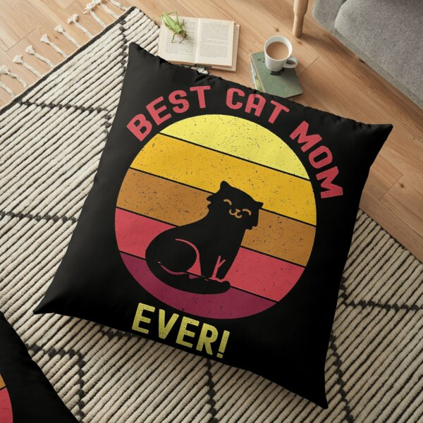Vintage Retro Best Cat Mom Ever Floor Pillow
