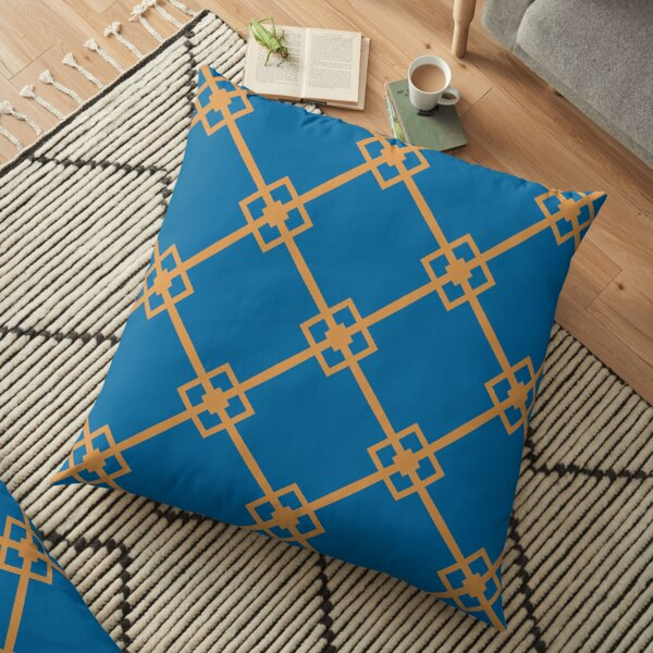 Modern Geometric Blue Orange Pattern Design 1998 Floor Pillow