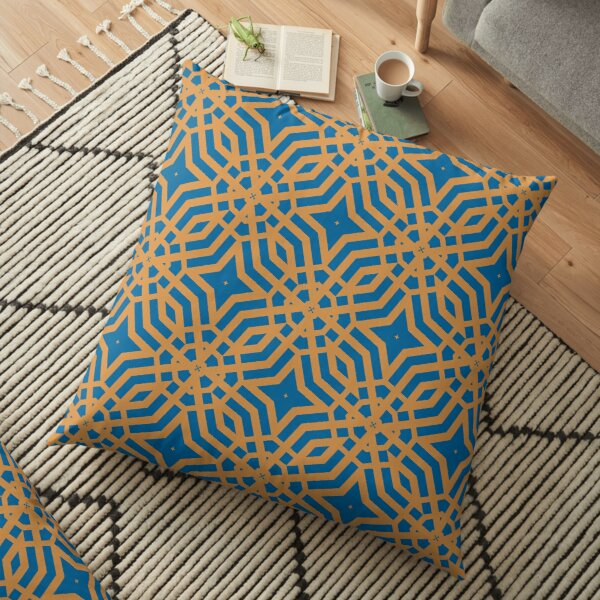Modern Geometric Blue Orange Pattern Design 1999 Floor Pillow