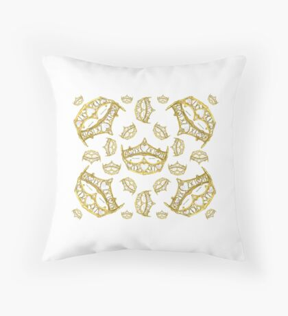 Queen of Hearts gold crown tiara tossed about by Kristie Hubler Throw Pillow