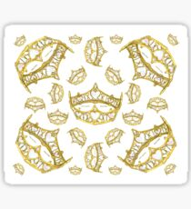 Queen of Hearts gold crown tiara tossed about by Kristie Hubler Sticker