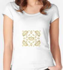 Queen of Hearts gold crown tiara tossed about by Kristie Hubler Women's Fitted Scoop T-Shirt