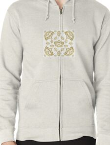 Queen of Hearts gold crown tiara tossed about by Kristie Hubler Zipped Hoodie