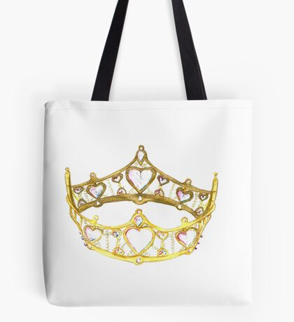 Queen of Hearts gold crown tiara by Kristie Hubler Tote Bag