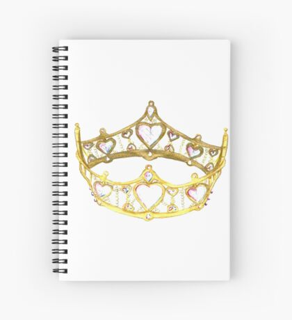 Queen of Hearts gold crown tiara by Kristie Hubler Spiral Notebook