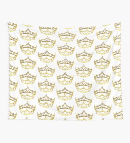 Queen of Hearts gold crown tiara by Kristie Hubler Wall Tapestry