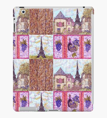 Paris Inspired Pointillism Grapes Wine Wood by Kristie Hubler iPad Case/Skin