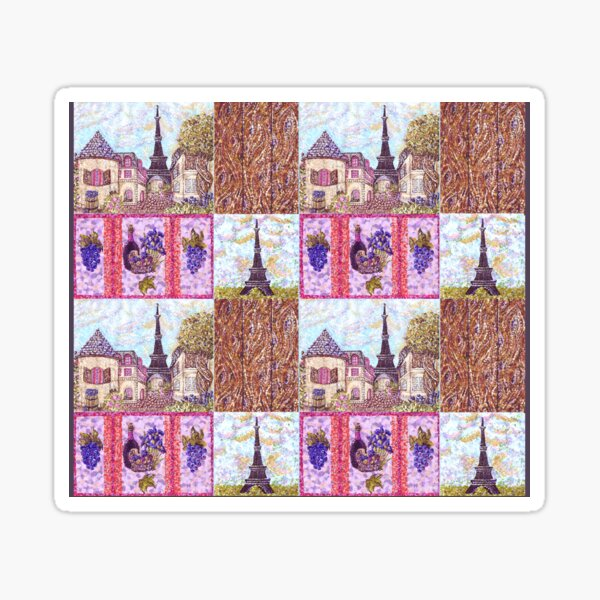Paris Inspired Pointillism Grapes Wine Wood by Kristie Hubler Sticker