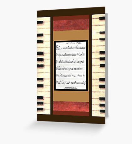 Piano keys with sheet music by Kristie Hubler Greeting Card