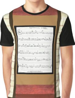 Piano keys with sheet music by Kristie Hubler Graphic T-Shirt