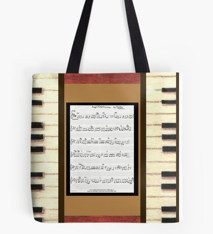 Piano keys with sheet music by Kristie Hubler Tote Bag
