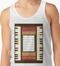 Piano keys with sheet music by Kristie Hubler Tank Top