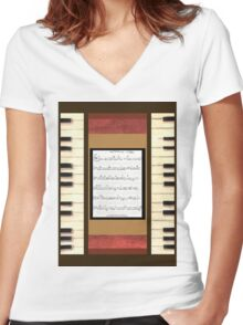 Piano keys with sheet music by Kristie Hubler Women's Fitted V-Neck T-Shirt