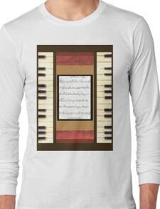 Piano keys with sheet music by Kristie Hubler Long Sleeve T-Shirt