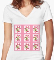 9 bunches of Pink Tulip Flowers by Kristie Hubler Women's Fitted V-Neck T-Shirt