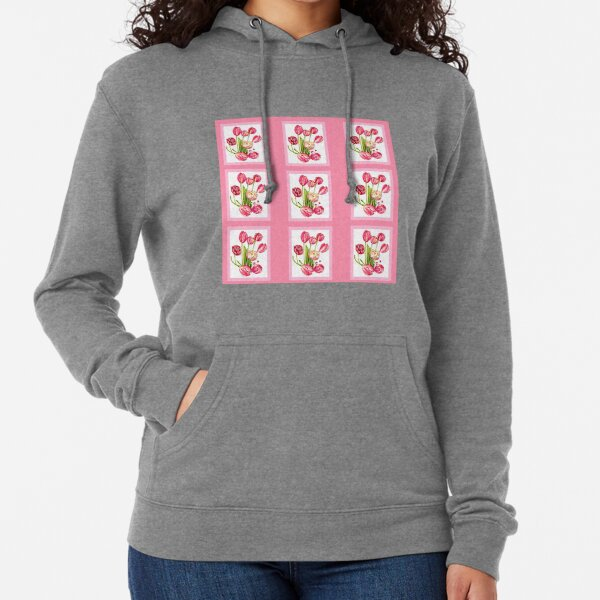 9 bunches of Pink Tulip Flowers by Kristie Hubler Lightweight Hoodie