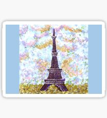 Eiffel Tower Pointillism by Kristie Hubler Sticker