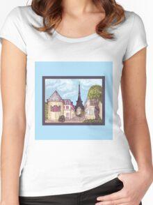 Paris Eiffel Tower inspired impressionist landscape by Kristie Hubler Women's Fitted Scoop T-Shirt