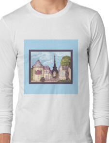 Paris Eiffel Tower inspired impressionist landscape by Kristie Hubler Long Sleeve T-Shirt